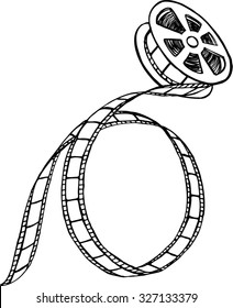 Black and white film strip and reel, hand-drown illustration