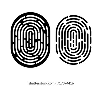 Black and white fingerprint. Identification and authorization system. Fingerprint for id, passport, applications. Simple finger print icon. Vector illustration