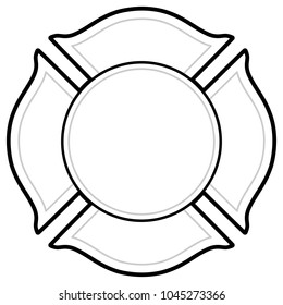 Black And White Firefighter Logo - A vector cartoon illustration of a Firefighter Logo concept.