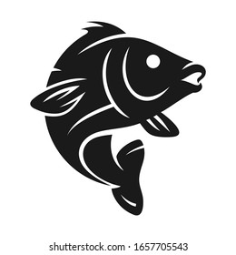 Black and white fish on a white background in vector EPS8