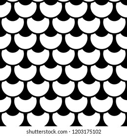 Black and white fish scale vector seamless pattern. Background with fishscale ornament. Mermaid pattern. Fish skin, mermaid tail