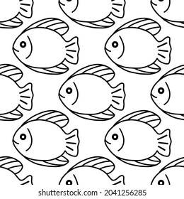 Black and white fish seamless pattern. Vector illustration for seafood, wrapping paper, packaging, fabric, surface design.