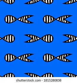Black and white fish with Zebra stripes swim in the sea. Seamless pattern. Vector illustration for web design or print.