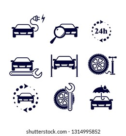 Black and white flat isolated vector icons set for site - round-the-clock, car lift, diagnostics, tire fitting, charging, service, tire inflation, recycled, car exchange, carport.