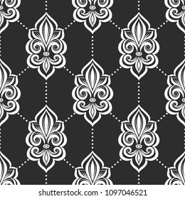 Black and white fleur de lis seamless pattern. Vintage royal , heraldic lilly. Ornament. Turkish, Indian motifs. Great for fabric and textile, flyer, banner, business cards, wallpaper, packaging