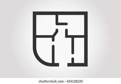 Black and white floor plan  of a  apartment / Eps 10 /  technical vector illustration  / Floorplan icon / Architecture floorplan in top view / Apartment floor plan icon square