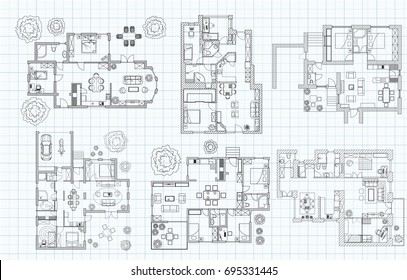 Black and White floor plan collection of six house on millimeter paper.