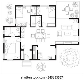 Black And White Floor Plan Of A House