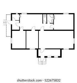 Black and White floor plan of a modern unfurnished apartment for your design. Vector blueprint suburban house. Architectural background.
