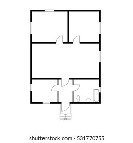 Black and White floor plan of a modern unfurnished apartment for your design. Vector blueprint suburban house.  Architectural project.