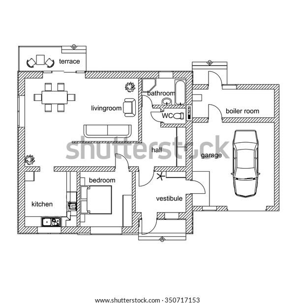 Black White Floor Plan Modern Apartment Stock Vector Royalty Free 350717153