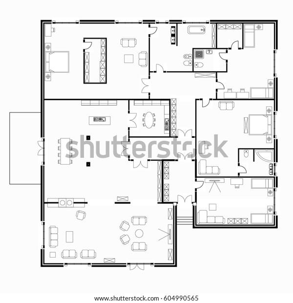 Black White Floor Plans Modern Apartment Stock Vector ...