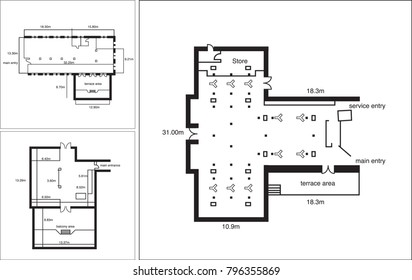 Black and white floorplan vector drawings
