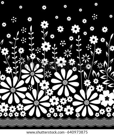 Black White Floral Border Print Stock Vector Royalty Free