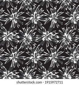 Black and White Floral brush strokes seamless pattern background for fashion prints, graphics, backgrounds and crafts