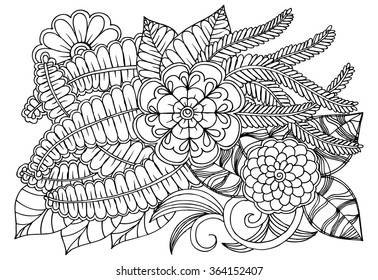 Black White Flower Pattern Adult Coloring Stock Vector Royalty Free