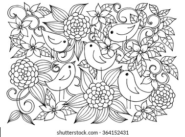Black and white floral doodle. Coloring pages for book. Vector line art.