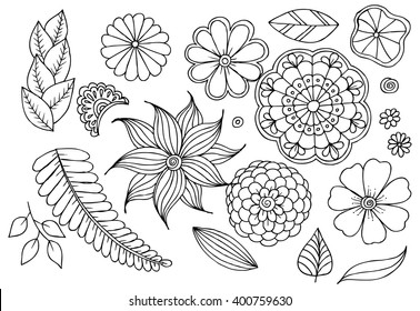Black and white floral doodle set