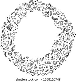 black and white floral herbal set vintage new year cristmas frame  vector image background pattern