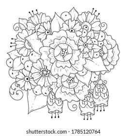 Ornamento floral blanco y negro. Página de colorear para niños y adultos. Fondo monocromo vectorial.
