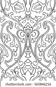 Black and white floral pattern. Seamless filigree ornament. Stylized template for wallpaper, textile, shawl, tile, carpet and any surface. Pattern with stylized birds.