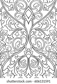 Black and white floral pattern. Seamless filigree ornament. Stylized template for wallpaper, textile, shawl, carpet and any surface.