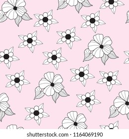 black and white floral seamless pattern on pink background hibiscus flower