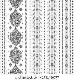 Black and white floral seamless pattern with ornamental stripes. Traditional oriental motifs. Vector ornament template. Decorative paisley elements. Great for fabric and textile.