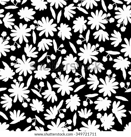Black White Floral Seamless Pattern Silhouette Stock Vector Royalty