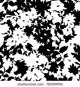 Black and white floral silhouette - seamless background