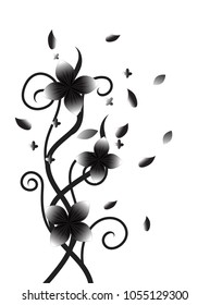 black and white floral swirl
