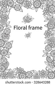 Black and White floral vector frame. Wildflowers.