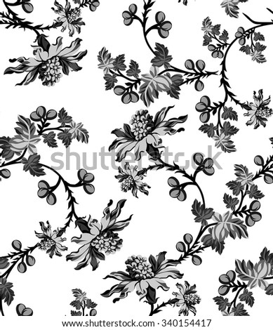 Black White Floral Wallpaper Pattern Stock Vector Royalty Free
