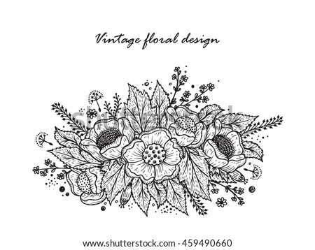 Black White Flower Garland Template Invitation Stock Vector Royalty