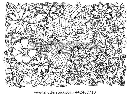 Black White Flower Pattern Coloring Doodle Stock Vector ...  Black White Flo...