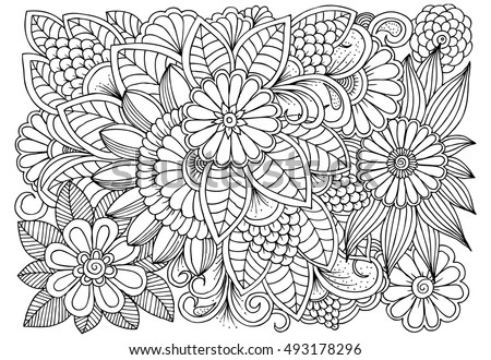 black white flower pattern coloring doodle stock vector royalty