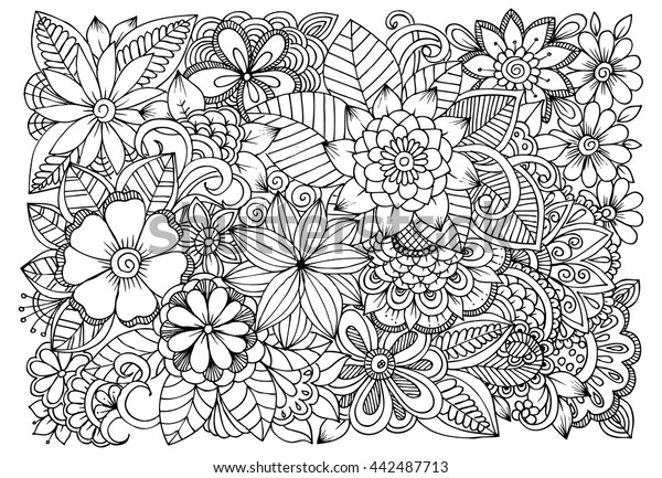 Pattern Flower Drawing With Colour Best 25 Flower Tattoo: Black White Flower Pattern Coloring Doodle Stock Vector