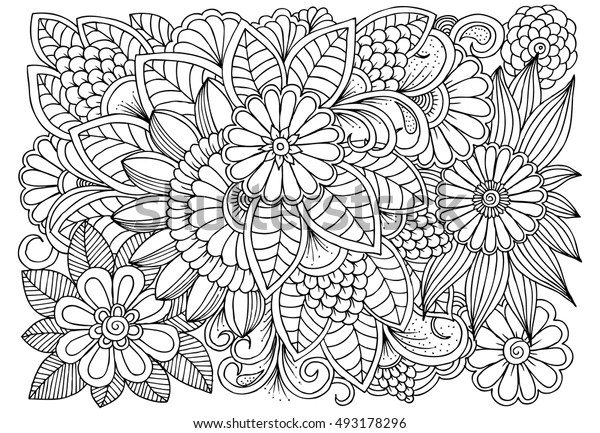 Black White Flower Pattern Coloring Doodle Stock Vector ...