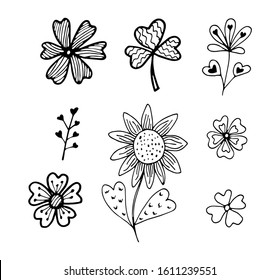 Black and white flowers with heart set in doodle style isolated on white background. Vector stock illustration. Hand drawing line art image for Valentines Day decor.