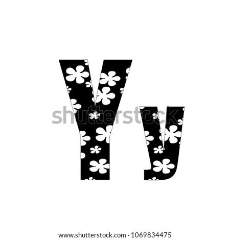 Black White Flowers Letter Y Logo Stock Vector Royalty Free