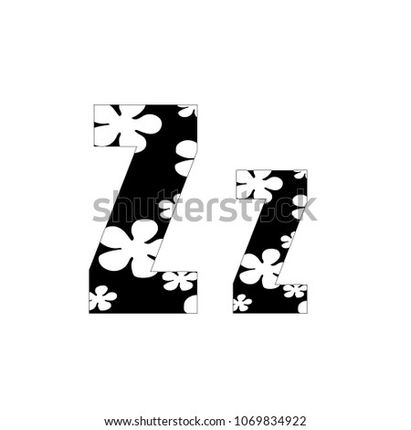 Black White Flowers Letter Z Logo Stock Vector Royalty Free
