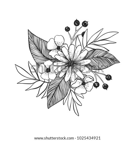 Black White Flowers Tattoo Hand Drawn Stock Vector Royalty Free