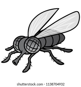 Black and White Fly Mascot - A vector cartoon illustration of a Fly Mascot.
