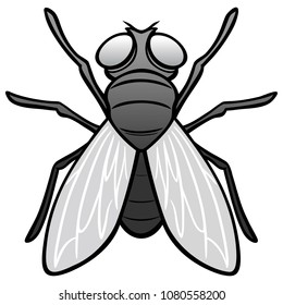 Black and White Fly Top View - A vector cartoon illustration of a top view of a Fly.