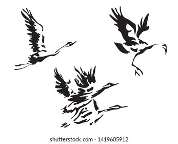 Black and white  flying cranes seamless pattern