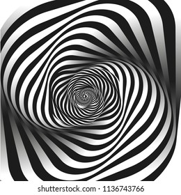 Black and white fractal background. Escher style. Images in the style of optical visual illusions - pop art. Psychology or fashion, a sample for printing.