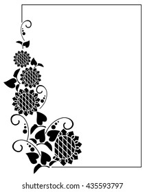 Black and white frame with decorative sunflowers silhouettes. Vector clip art.