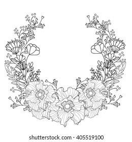 Black and white frame with flowers. Bright spring concept illustration with frame of flowers in vector.