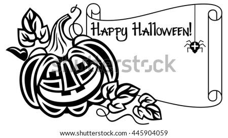 Halloween Vector Black And White.Black White Frame Halloween Pumpkin Text Stock Vector Royalty Free
