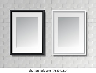 Black And White Frame On Brick Wall Realistic Vector Illustration Mock Up